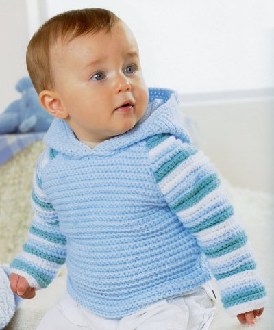 Sirdar Book 411 - The Baby Crochet Book - Design 1296 - Plain Hoodie with Striped Sleeves