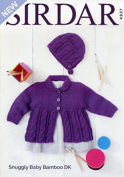 Snuggly Baby Bamboo Leaflet 4937 - Matinée Jacket and Bonnet