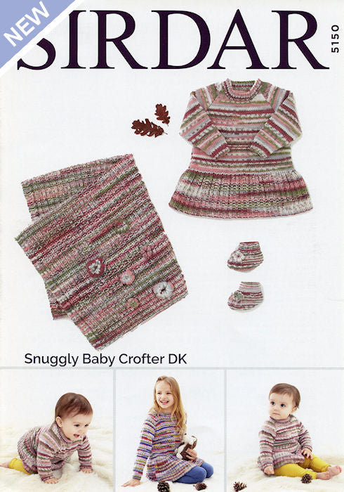 Sirdar Snuggly Baby Crofter DK Leaflet 5150 - Dress, Blanket, and Booties