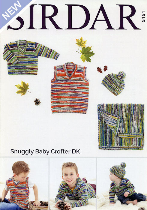 Sirdar Snuggly Baby Crofter DK Leaflet 5151 - Sweater, Tank, Hat, and Blanket
