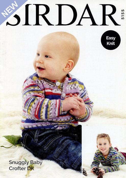 Sirdar Snuggly Baby Crofter DK Leaflet 5155 - Pullover & Hooded Cardigan
