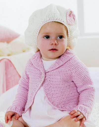 Sirdar Book 411 - The Baby Crochet Book - Design 1300 - Bolero Cardie