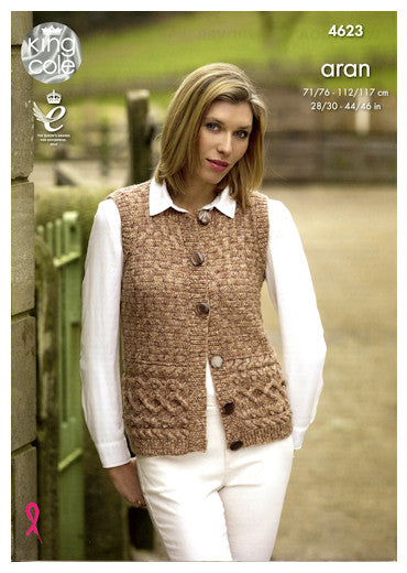 Fashion Aran Combo Leaflet 4623 - Vest with Buttons
