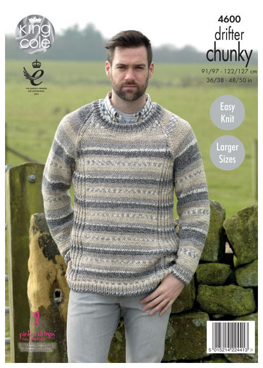 Drifter Chunky Leaflet 4600 - Raglan Pullover with Round Neck