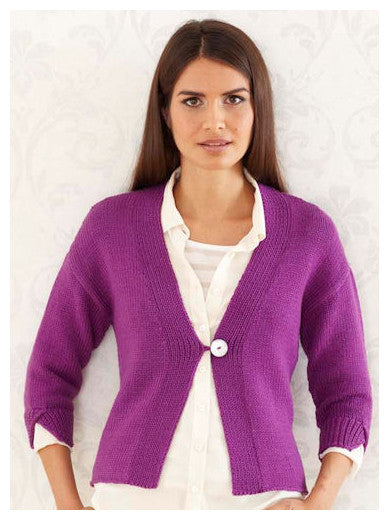 Sublime Book 709 - The Fourth Sublime Worsted Design Book - Design 8 - One Button Cardigan in one colour