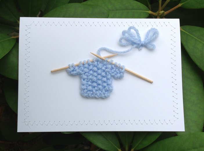 Blank Greeting Card - Baby Blue Sweater