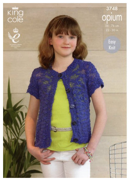 King Cole Opium Leaflet 3748 - Short-Sleeved Cardigan