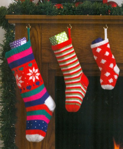 Christmas Knits Book 1 - Stocking in 3 sizes & patterns