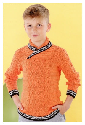 Sirdar Book 495 - Playful Little Tots - Design 4627 Cabled Pullover with Wrap Neck