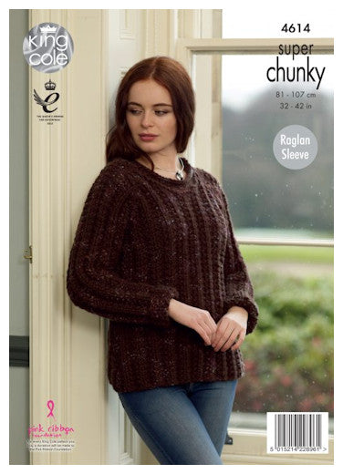 Big Value Super Chunky Twist Leaflet 4614 - Long-Sleeved Raglan Sweater