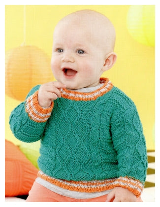 Sirdar Book 495 - Playful Little Tots - Design 4627 Cabled Pullover with Round Neck