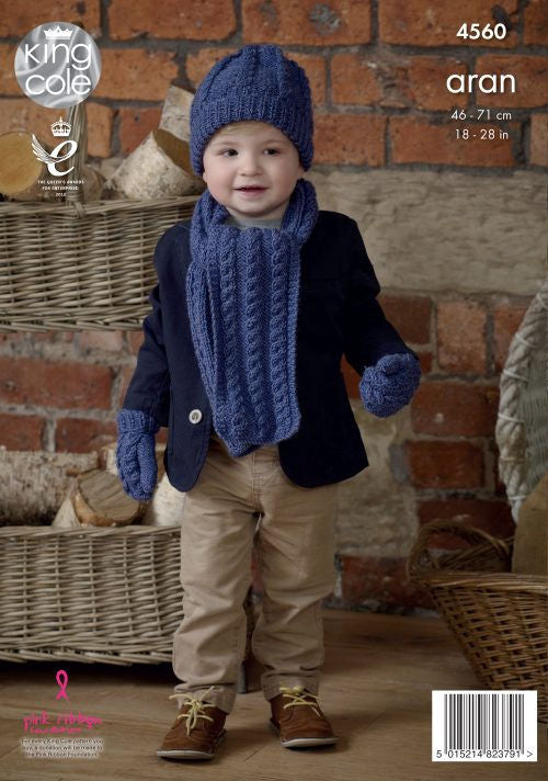 Fashion Aran Leaflet 4560 - Scarf, Hat, and Mittens