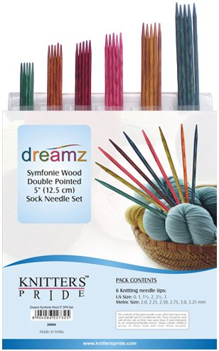 Knitter's Pride Dreamz Symfonie Wood Double Pointed Sock Needle Set (12.5 cm / 5 inch)