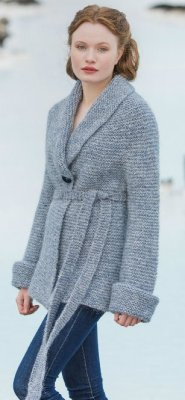Lopi Book 33 - Design 5 Himinn - One Button Garter Stitch Jacket  - Blue