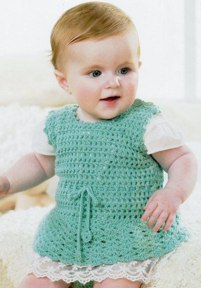 Sirdar Book 411 - The Baby Crochet Book - Design 1297 - Pinafore Dress