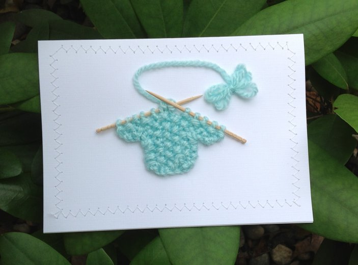 Blank Greeting Card - Baby Green Sweater