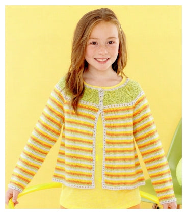 Sirdar Book 495 - Playful Little Tots - Design 4624 Striped Cardigan