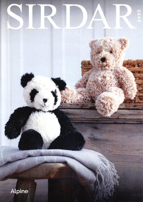 Sirdar Alpine Leaflet 2495 - Panda and Teddy Bear
