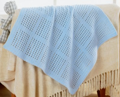 Sirdar Book 411 - The Baby Crochet Book - Design 1298 - Blanket with Squares
