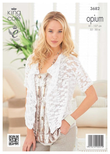 King Cole Opium Leaflet 3682 - Short Sleeve Cardigan