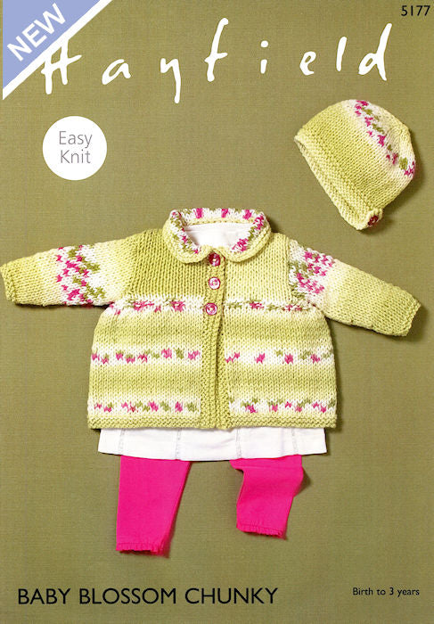 Hayfield Baby Blossom Chunky Leaflet 5177 - Matinée Coat and Bonnet