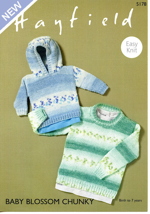 Hayfield Baby Blossom Chunky Leaflet 5178 - Round-Necked Sweater and Hooded Sweater