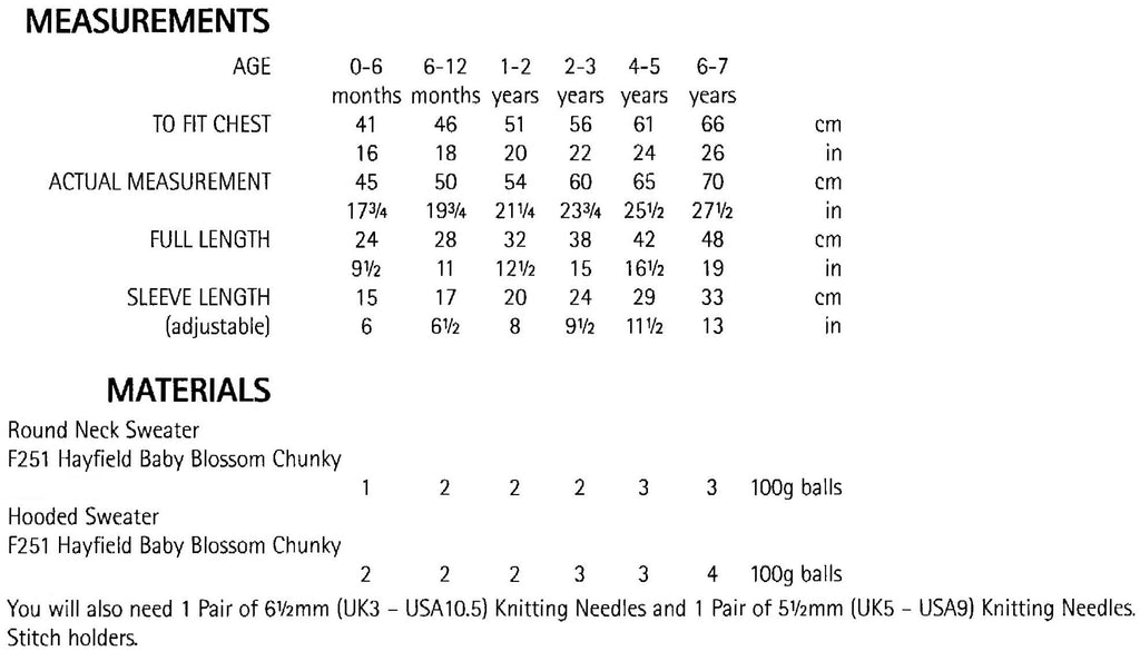 Hayfield Baby Blossom Chunky Leaflet 5178 - Sizes and Measurements