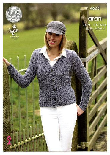 Fashion Aran Combo Leaflet 4625 - Cardigan