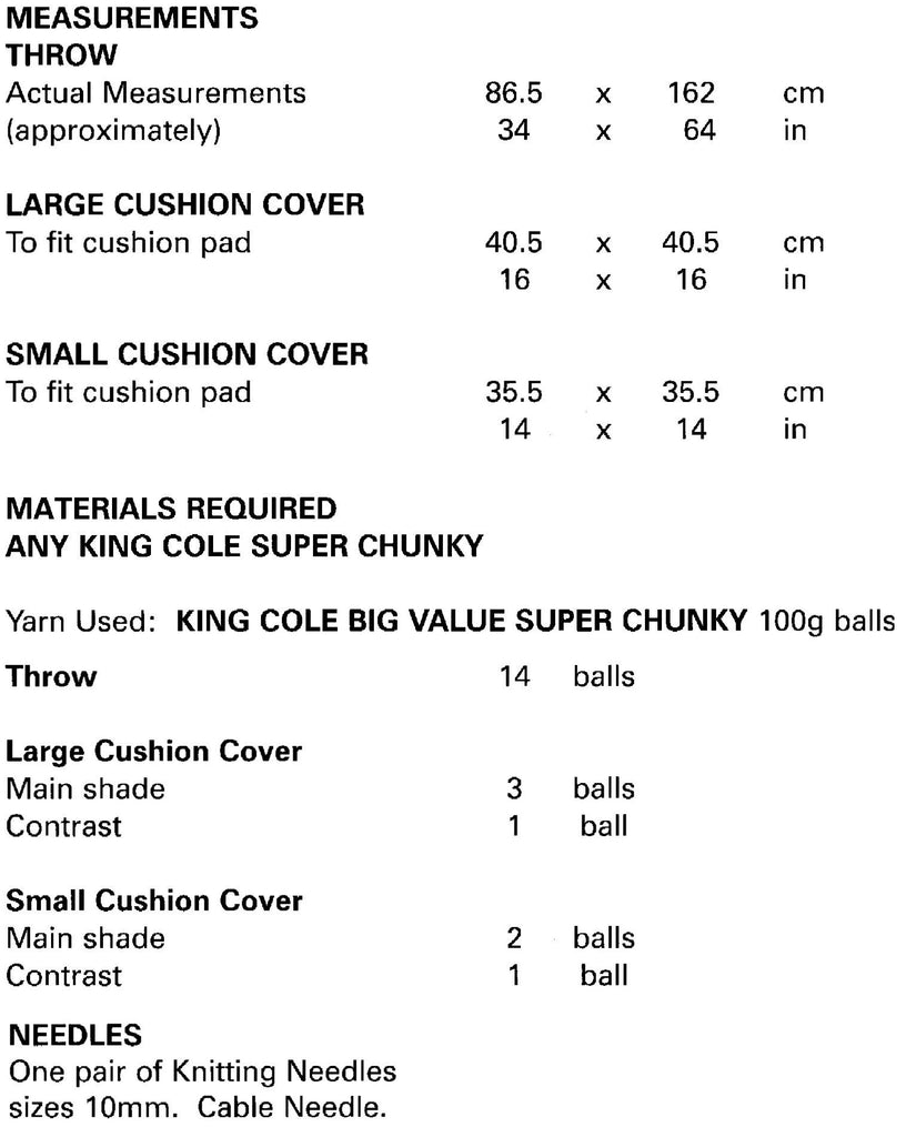 King Cole Big Value Chunky Leaflet 4873- Sizes and Measurements