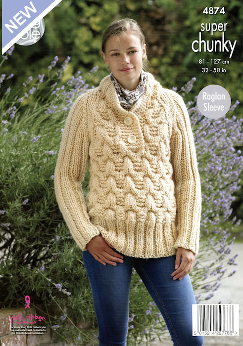 King Cole Big Value Chunky Leaflet 4874- Sweater