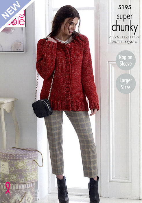 King Cole Big Value Chunky Stormy Leaflet 5195 - Cardigan