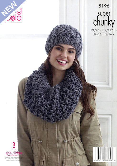 King Cole Big Value Chunky Stormy Leaflet 5196 - Hat and Cowl