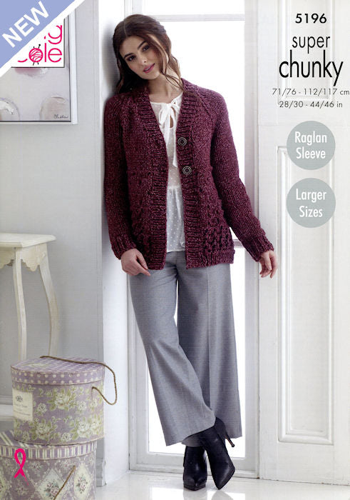 King Cole Big Value Chunky Stormy Leaflet 5196 - Cardigan