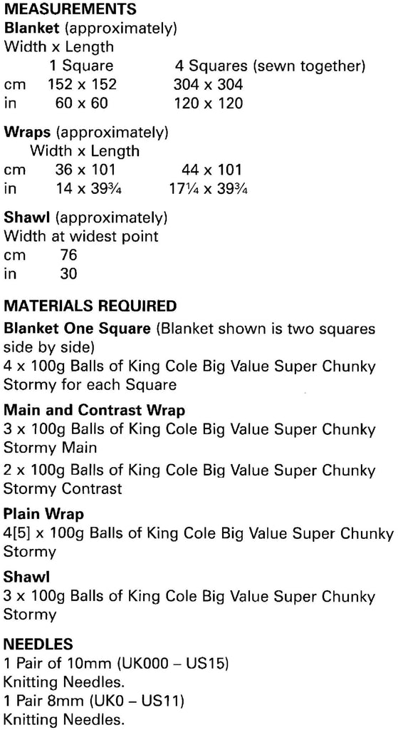 King Cole Big Value Chunky Stormy Leaflet 5197- Sizes and Measurements