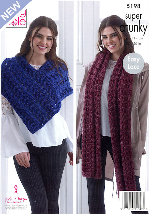 King Cole Big Value Chunky Stormy Leaflet 5199- Poncho and Wide Scarf