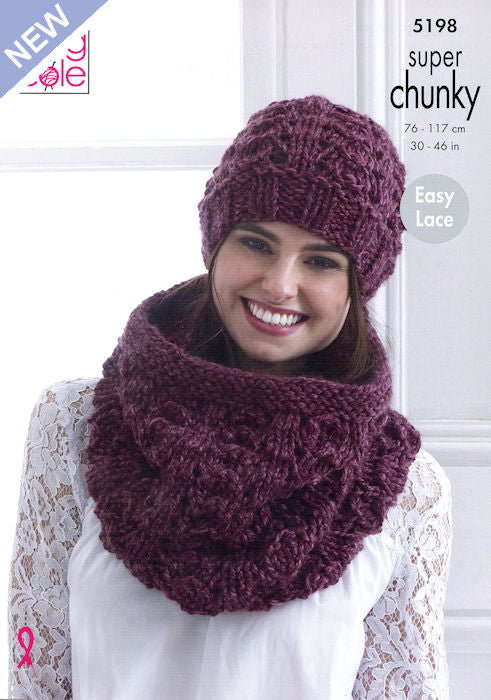 King Cole Big Value Chunky Stormy Leaflet 5199- Hat and Snood