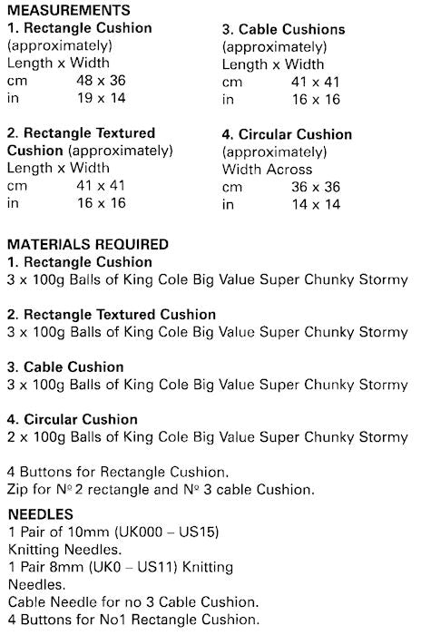King Cole Big Value Chunky Stormy Leaflet 5199 - Sizes and Materials