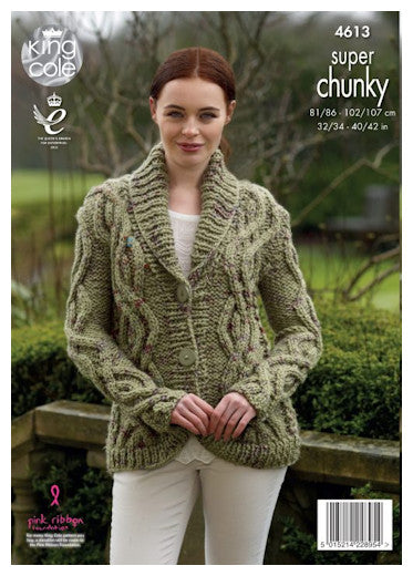 Big Value Super Chunky Twist Leaflet 4613 - Cabled Cardigan with Shawl Collar