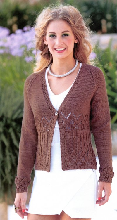 Cotton DK Leaflet 7085 by Sirdar - Cardigan with Long Sleeves