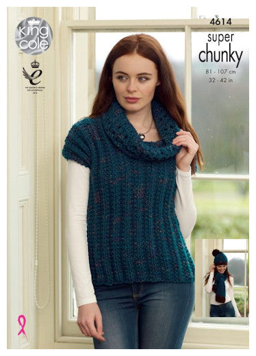 Big Value Super Chunky Twist Leaflet 4614 - Cap Sleeved, Cowl Necked Sweater and Hat & Scarf