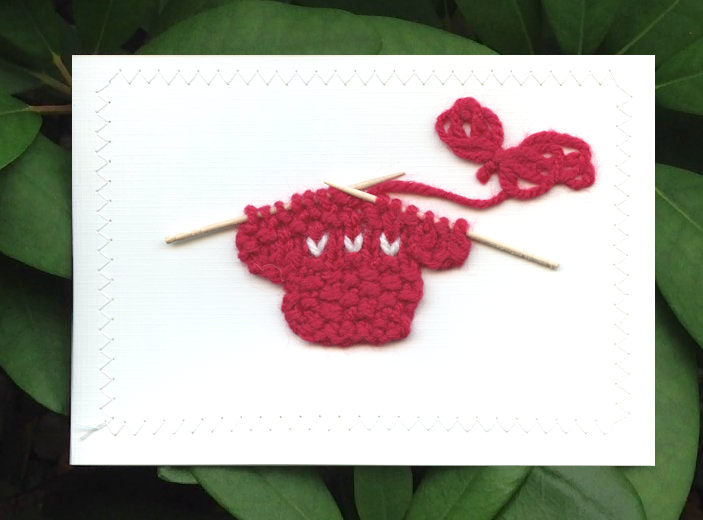 Blank Greeting Card - Red Sweater with White Hearts