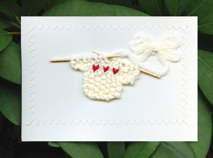 Blank Greeting Card - White Sweater with Red Hearts