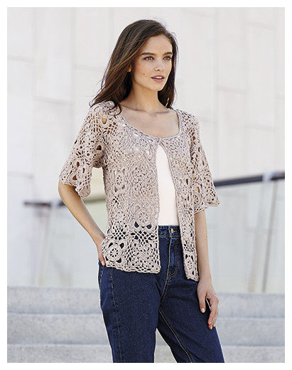 Katia No. 3 - Concept - Design 19 - Crocheted One Button Short Sleeved Cardigan in Cotton-Cashmere