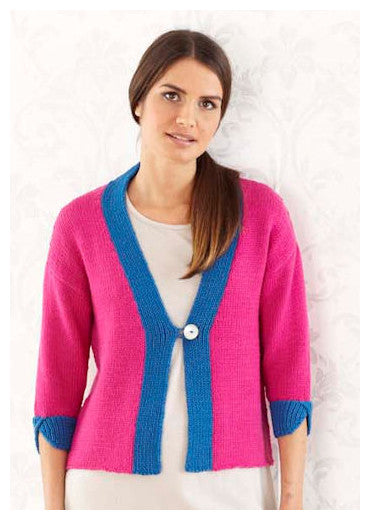 Sublime Book 709 - The Fourth Sublime Worsted Design Book - Design 9 - One Button Cardigan with contrasting trim