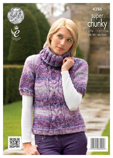 Big Value Super Chunky Tints Leaflet 4286 - Polo Neck Raglan with Short Sleeves