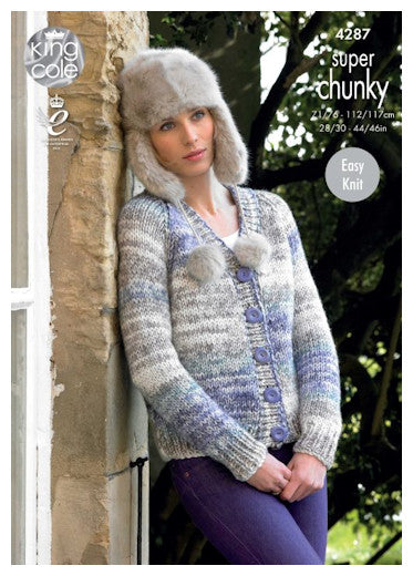Big Value Super Chunky Tints Leaflet 4287 - V Neck Raglan Cardigan