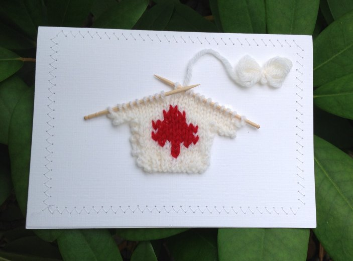 Blank Greeting Card - Red Maple Leaf Sweater