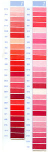 DMC Embroidery Floss Colour Chart - Columns 1 & 2 - small