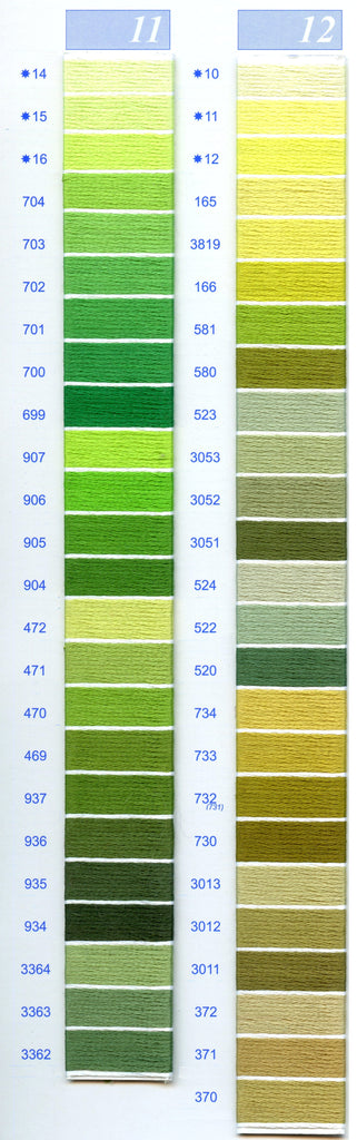 DMC Embroidery Floss Chart - Columns 11 & 12