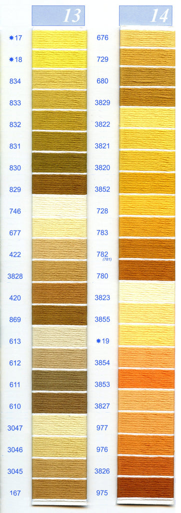 DMC Embroidery Floss Chart - Columns 13 & 14
